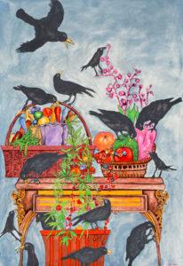 Black Birds Attacking a Still Life Table
